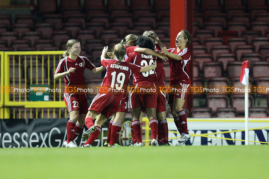 Energiya celebrate their equalising goal - Bristol Academy vs Energiya Voronezh - UEFA Women's Champions League Round of 32 First Leg at Ashton Gate, Bristol City FC - 29/09/11 - MANDATORY CREDIT: Gavin Ellis/TGSPHOTO - Self billing applies where appropriate - 0845 094 6026 - contact@tgsphoto.co.uk - NO UNPAID USE.