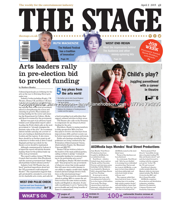 Poppy Burton-Morgan front page The Stage 02.04.15
