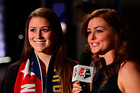 Philadelphia, PA - Thursday January 18, 2018: Morgan Reid, Jordan Angeli during the 2018 NWSL College Draft at the Pennsylvania Convention Center.