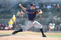 Starting pitcher Bryse Wilson (52) of the Rome Braves delivers a pitch in game one of a doubleheader against the Columbia Fireflies on Saturday, August 19, 2017, at Spirit Communications Park in Columbia, South Carolina. Rome won, 8-2. (Tom Priddy/Four Seam Images)