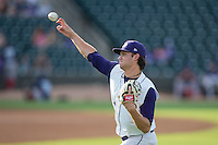 Winston-Salem Dash starting pitcher Spencer Adams (12) warms up in the outfield prior to the game against the Potomac Nationals at BB&T Ballpark on July 15, 2016 in Winston-Salem, North Carolina.  The Dash defeated the Nationals 10-4.  (Brian Westerholt/Four Seam Images)