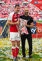 Rotherham Richard Wood and Rotherham manager Paul Warne after the Sky Bet League 1 Play Off FINAL match between Rotherham United and Shrewsbury Town at Wembley, London, England on 27 May 2018. Photo by Andrew Aleksiejczuk / PRiME Media Images.