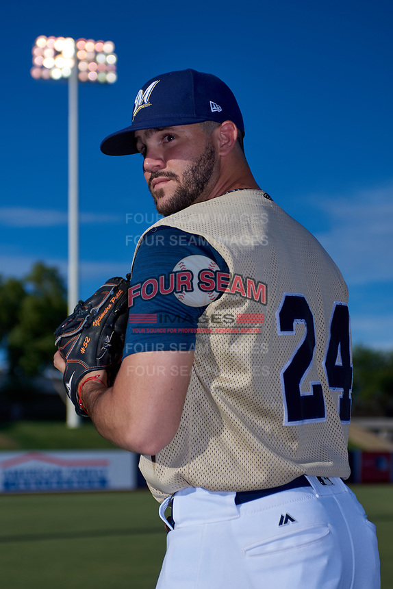 AZL Brewers Gold Luis Contreras (24) poses for a photo before an Arizona League game against the AZL Brewers Blue on July 13, 2019 at American Family Fields of Phoenix in Phoenix, Arizona. The AZL Brewers Blue defeated the AZL Brewers Gold 6-0. (Zachary Lucy/Four Seam Images)