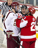 Jack Millea, Kevin Hayes (BC - 12), Marc Sullivan, Sahir Gill (BU - 28) - The Boston College Eagles defeated the visiting Boston University Terriers 5-2 on Saturday, December 1, 2012, at Kelley Rink in Conte Forum in Chestnut Hill, Massachusetts.