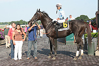 Clear Attempt with Jose Lezcano Aboard win the Grade III Poker Stakes for 3-year olds and up, going 1 mile on the turf at Belmont Park.  Trainer William Mott.  Owners Martin & Pam Wygod.