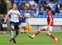 Bolton Wanderers' Pawel Olkowski competing with Bristol City's Callum O'Dowda<br /> <br /> Photographer Andrew Kearns/CameraSport<br /> <br /> The EFL Sky Bet Championship - Bolton Wanderers v Bristol City - Saturday August 11th 2018 - University of Bolton Stadium - Bolton<br /> <br /> World Copyright &copy; 2018 CameraSport. All rights reserved. 43 Linden Ave. Countesthorpe. Leicester. England. LE8 5PG - Tel: +44 (0) 116 277 4147 - admin@camerasport.com - www.camerasport.com