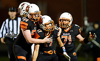 Verona celebrates a 2nd quarter touchdown by Haakon Anderson (middle), during Wisconsin Big Eight Conference high school football between Middleton and Verona on Friday, 8/24/18 at Verona High School