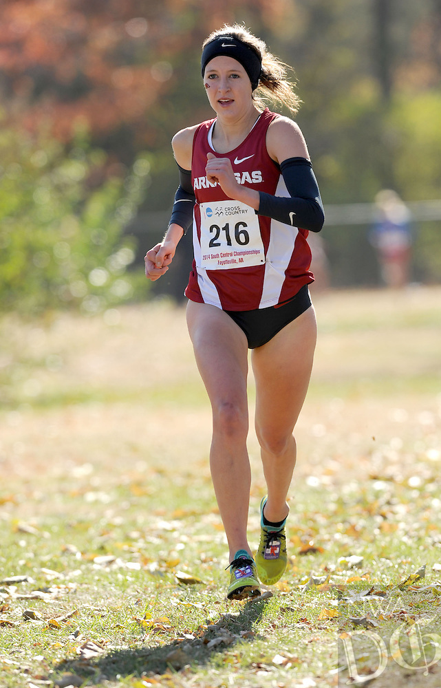 NWA Media/ANDY SHUPE - Arkansas' Shannon Klenke runs during the NCAA Cross Country South Central Regional Friday, Nov. 14, 2014, at Agri Park in Fayetteville.