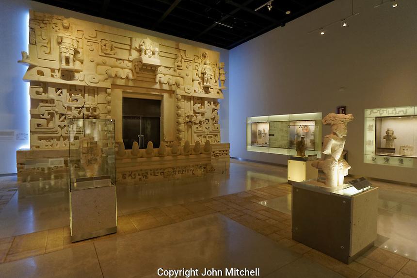 Gallery with archaeological artifacts and replica of royal  Mayan tomb at Ek Balam, Gran Museo del Mundo Maya museum in Merida, Yucatan, Mexico