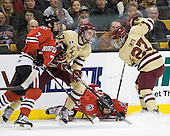 Anthony Bitetto (Northeastern - 7), Destry Straight (BC - 17), Zak Stone (Northeastern - 21), Quinn Smith (BC - 27) - The Boston College Eagles defeated the Northeastern University Huskies 7-1 in the opening round of the 2012 Beanpot on Monday, February 6, 2012, at TD Garden in Boston, Massachusetts.