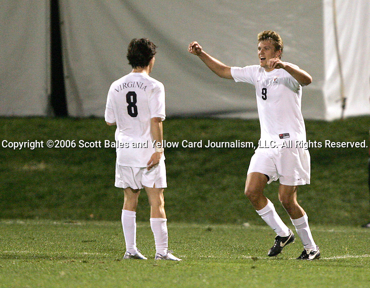 1 November 2006: Virginia's Nico Colaluca (8) congratulates teammate Adam Cristman (9) on his 23rd minute goal. Virginia defeated Clemson 2-0 at the Maryland Soccerplex in Germantown, Maryland in an Atlantic Coast Conference college soccer tournament quarterfinal game.