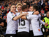 9th November 2019; Mestalla, Valencia, Spain; La Liga Football,Valencia versus Granada; Dani Parejo of Valencia CF celebrates with his team mates after scoring an offside goal nulled by the VAR referee in minute 55' - Editorial Use
