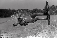 Pix:Michael Steele/SWpix...Water Skiing, Reading, 1988...COPYRIGHT PICTURE>>SIMON WILKINSON..Water Skiing, Reading. 1988.