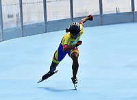 BARCELONA - ESPAÑA,  07-07-2019: Valeria Rodríguez, patinadora de Colombia, medalla de plata, durante la prueba de 200 Metros Meta Contra Meta, Juvenil damas, en el patinodromo Front Maritim en la ciudad de Barcelona en España, en el marco de los World Roller Games, Barcelona 2019. / Valeria Rodriguez, skater from Colombia, Silver Medal, during the 200 Dual TT, Junior Ladies, in the Front Maritim skate in the city of Barcelona in Spain, within the World Rollers Games Barcelona 2019. / Photo: VizzorImage / Luis Ramírez / Staff.
