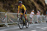 Yellow Jersey Adam Yates (GBR) Mitchelton-Scott climbs the Col de Peyresourde in front during Stage 8 of Tour de France 2020, running 141km from Cazeres-sur-Garonne to Loudenvielle, France. 5th September 2020. <br /> Picture: Colin Flockton | Cyclefile<br /> All photos usage must carry mandatory copyright credit (© Cyclefile | Colin Flockton)