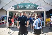 MOSCOW, RUSSIA - June 16, 2018: Fans wait in line outside a FIFA Official Fan Shop outside Spartak stadium before the Iceland vs. Argentina game at the 2018 FIFA World Cup.