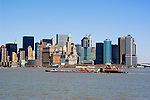 New York City, New York: Barge passes skyline of New York lower manhattan post 9-11.  .Photo #: ny221-14660  .Photo copyright Lee Foster, www.fostertravel.com, lee@fostertravel.com, 510-549-2202.