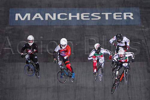 09.04.2016. National Cycling Centre, Manchester, England. UCI BMX Supercross World Cup day 1. David Graf leads from Jonathan Demont, Alex Wright and Liam Webster.