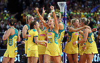 16.08.2015 Australia's Renae Hallinan celebrates after the Silver Ferns v Australia Gold Medal netball match at the 2015 Netball World Cup at All Phones Arena in Sydney Australia. Mandatory Photo Credit ©Michael Bradley.