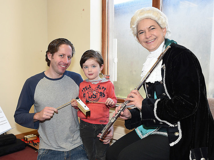 Ian and Fionn McPhillips with Julie Maisel from Kids Classics in Ardee library as part of the Baroque Festival. Photo:Colin Bell/pressphotos.ie