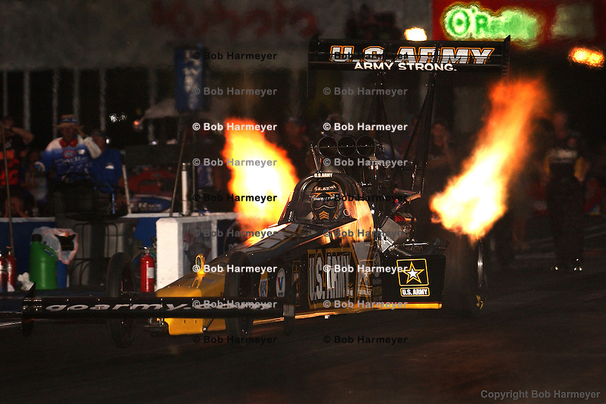 COMMERCE, GA - APRIL 17: Tony Schumacher launches his Top Fuel dragster off the starting line during night qualifying for the Summit Racing Equipment NHRA Southern Nationals on April 27, 2008, at Atlanta Dragway near Commerce, Georgia.