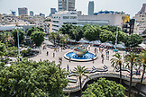 ISRAEL, People are walking around Agam Fountain located in the center of Dizingoff Square, Tel Aviv.