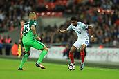 5th October 2017, Wembley Stadium, London, England; FIFA World Cup Qualification, England versus Slovenia; Marcus Rashford of England takes on Aljaz Struna of Slovenia