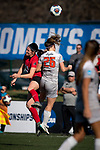 KANSAS CITY, MO - DECEMBER 02:  Baylie Edwards (20) of the University of Central Missouri and Jaidyn Zapf (26) of Carson-Newman University battle for a loose ball  during the Division II Women's Soccer Championship held at the Swope Soccer Village on December 2, 2017 in Kansas City, Missouri. (Photo by Doug Stroud/NCAA Photos/NCAA Photos via Getty Images)