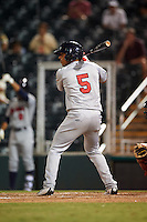Brevard County Manatees left fielder Brandon Diaz (5) at bat during a game against the Fort Myers Miracle on April 13, 2016 at Hammond Stadium in Fort Myers, Florida.  Fort Myers defeated Brevard County 3-0.  (Mike Janes/Four Seam Images)