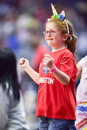 Washington, DC - August 17, 2018: A young Washington Mystics fan on the sideline during game between the Washington Mystics and Los Angeles Sparks at the Capital One Arena in Washington, DC. (Photo by Phil Peters/Media Images International)