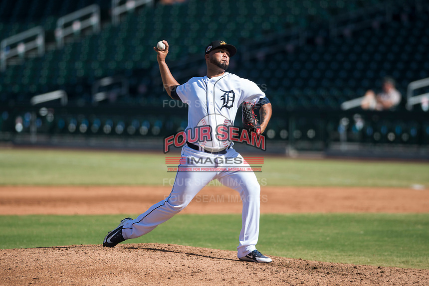 Mesa Solar Sox relief pitcher Eduardo Jimenez (66), of the Detroit Tigers organization, delivers a pitch during an Arizona Fall League game against the Peoria Javelinas at Sloan Park on October 24, 2018 in Mesa, Arizona. Mesa defeated Peoria 4-3. (Zachary Lucy/Four Seam Images)