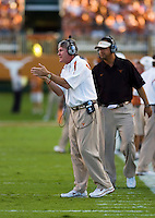30 September 2006: Texas head coach Mack Brown cheers his team on from the sidelines during the Longhorns 56-3 victory over the Sam Houston State Bearkats at Darrell K Royal Memorial Stadium in Austin, TX.