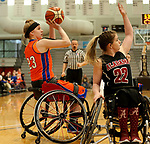 MARSHALL, MN - MARCH 17:  Abigail Dunkin #23 from University of Texas Arlington shoots over Sarah Maynard #22 from Alabama during their championship game at the 2018 National Intercollegiate Wheelchair Basketball Tournament at Southwest Minnesota State University in Marshall, MN. (Photo by Dave Eggen/Inertia)