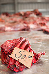 Meat for sale at the Nuuk game market in Greenland.