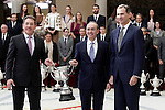 King Felipe VI of Spain delivers National Award for Arts and Sciences Applied to Sport to the professional in the exercise of its activity has been highlighted by a work or has helped drive or disseminate exercise regularly or singularly throughout his professional life, Eduardo Anitua and Mikel Sanchez Alvarez Aldecoa. November 17, 2015. (ALTERPHOTOS/Acero)