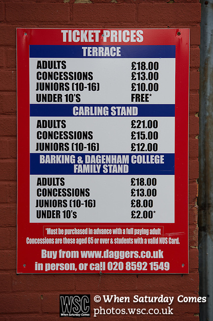 Dagenham and Redbridge 1 Burton Albion 3, 21/02/2015. Victoria Road, League Two. Matchday ticket prices. Burton Albion moved to the top of League Two following a hard-fought win over Dagenham & Redbridge played in-front of 1,718 supporters. Photo by Simon Gill.
