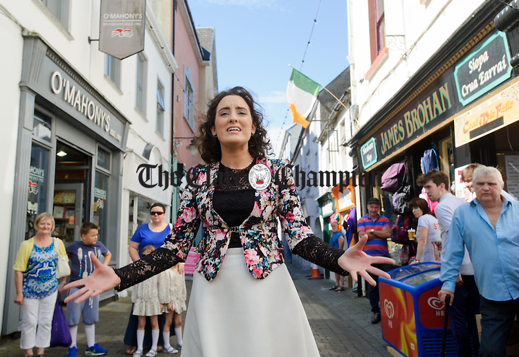 "Roisin Rodgers of Ballinruan singing the Robbie Mc Mahon classic ""The Fleadh Down In Ennis"" during Fleadh Cheoil na hEireann. Photograph by John Kelly."