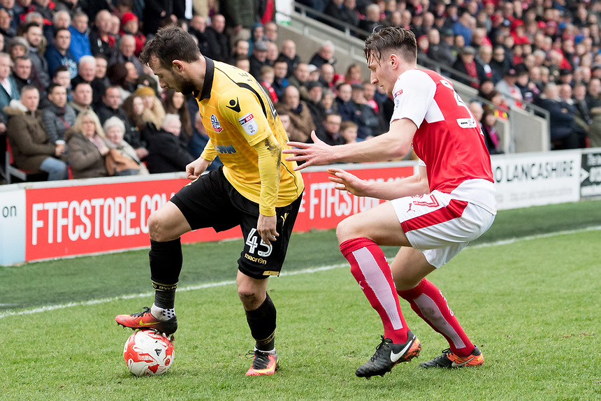 Bolton Wanderers' Adam Le Fondre battles with Fleetwood Town's Ben Davies<br /> <br /> Photographer Terry Donnelly/CameraSport<br /> <br /> The EFL Sky Bet League One - Fleetwood Town v Bolton Wanderers - Saturday 11th March 2017 - Highbury Stadium - Fleetwood<br /> <br /> World Copyright &copy; 2017 CameraSport. All rights reserved. 43 Linden Ave. Countesthorpe. Leicester. England. LE8 5PG - Tel: +44 (0) 116 277 4147 - admin@camerasport.com - www.camerasport.com
