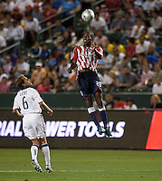 Atiba Harris heads the ball. The LA Galaxy defeated Chivas USA 1-0 at Home Depot Center stadium in Carson, California Saturday evening July 11, 2009.