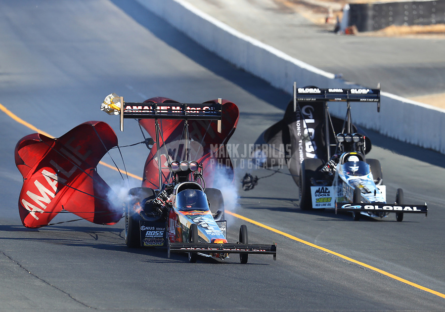 Jul 29, 2017; Sonoma, CA, USA; NHRA top fuel driver Terry McMillen (left) alongside Shawn Langdon during qualifying for the Sonoma Nationals at Sonoma Raceway. Mandatory Credit: Mark J. Rebilas-USA TODAY Sports