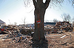 A For Sale Sign on a tree in front of a leveled home after the destruction from Superstorm Sandy on Brook Avenue in Union Beach, New Jersey.  Photo By Bill Denver