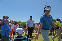 Jimmy Walker (USA) shakes hands with fans as he approaches 10 during round 1 of the AT&T Byron Nelson, Trinity Forest Golf Club, at Dallas, Texas, USA. 5/17/2018.<br /> Picture: Golffile | Ken Murray<br /> <br /> <br /> All photo usage must carry mandatory copyright credit (© Golffile | Ken Murray)