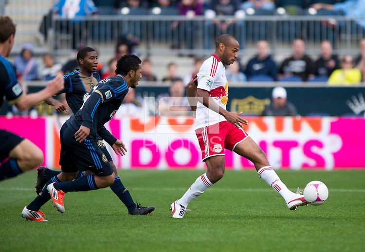 Thierry Henry (14) of the New York Red Bulls scores the second goal of the game at PPL Park in Chester, PA.  New York defeated Philadelphia, 3-0.