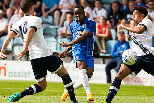 18.07.2015.  Peterborough, Engand. Pre Season Friendly Peterborough United versus Tottenham Hotspur. Kgosi Ntihe (Peterborough United) shoots at goal.