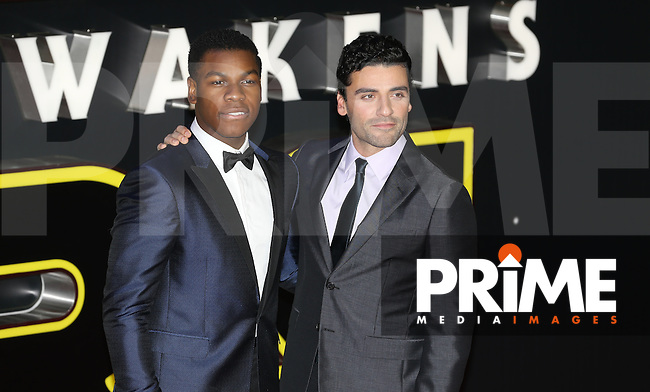 John Boyega & Oscar Isaac attend the STAR WARS: 'The Force Awakens' EUROPEAN PREMIERE at Odeon, Empire & Vue Cinemas, Leicester Square, England on 16 December 2015. Photo by David Horn / PRiME Media Images