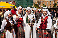 Women in tradition dress at folklore festival in Vilnius,Lithuania