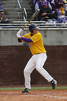 East Carolina University Pirates infielder John Wooten #16 at bat during a game against the Stony Brook Seawolves at Clark-LeClair Stadium on March 4, 2012 in Greenville, NC.  East Carolina defeated Stony Brook 4-3. (Robert Gurganus/Four Seam Images)