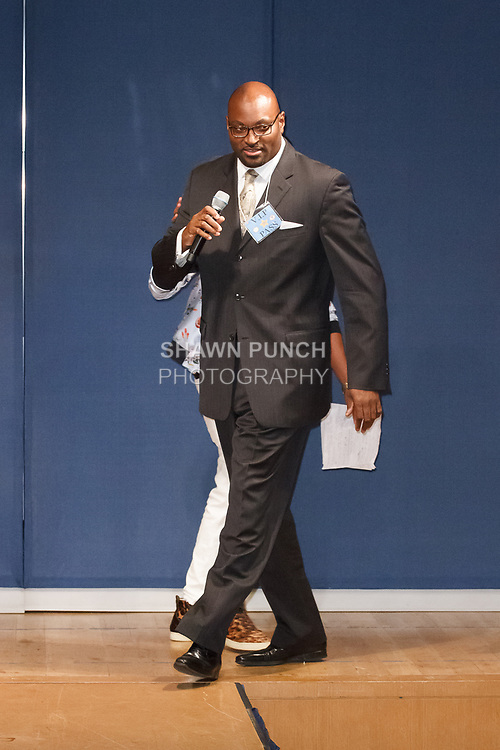 Sterling Roberson - UFT Vice President CTE, speaking briefly at the Teachers Rock The Runway fashion show presented by the United Federation of Teachers, at 52 Broadway in New York City, on May 31st 2018.