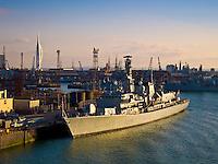 Warship HMS Lancaster 229  moored at Portsmouth Harbour, England