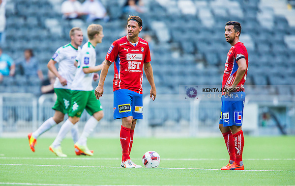 Stockholm 2014-07-20 Fotboll Superettan Hammarby IF - &Ouml;sters IF :  <br /> &Ouml;sters  Freddy S&ouml;derberg och Denis Velic deppar efter att Hammarbys Lars Mendonca Fuhre gjort 3-0<br /> (Foto: Kenta J&ouml;nsson) Nyckelord:  Superettan Tele2 Arena Hammarby HIF Bajen &Ouml;ster &Ouml;IF depp besviken besvikelse sorg ledsen deppig nedst&auml;md uppgiven sad disappointment disappointed dejected